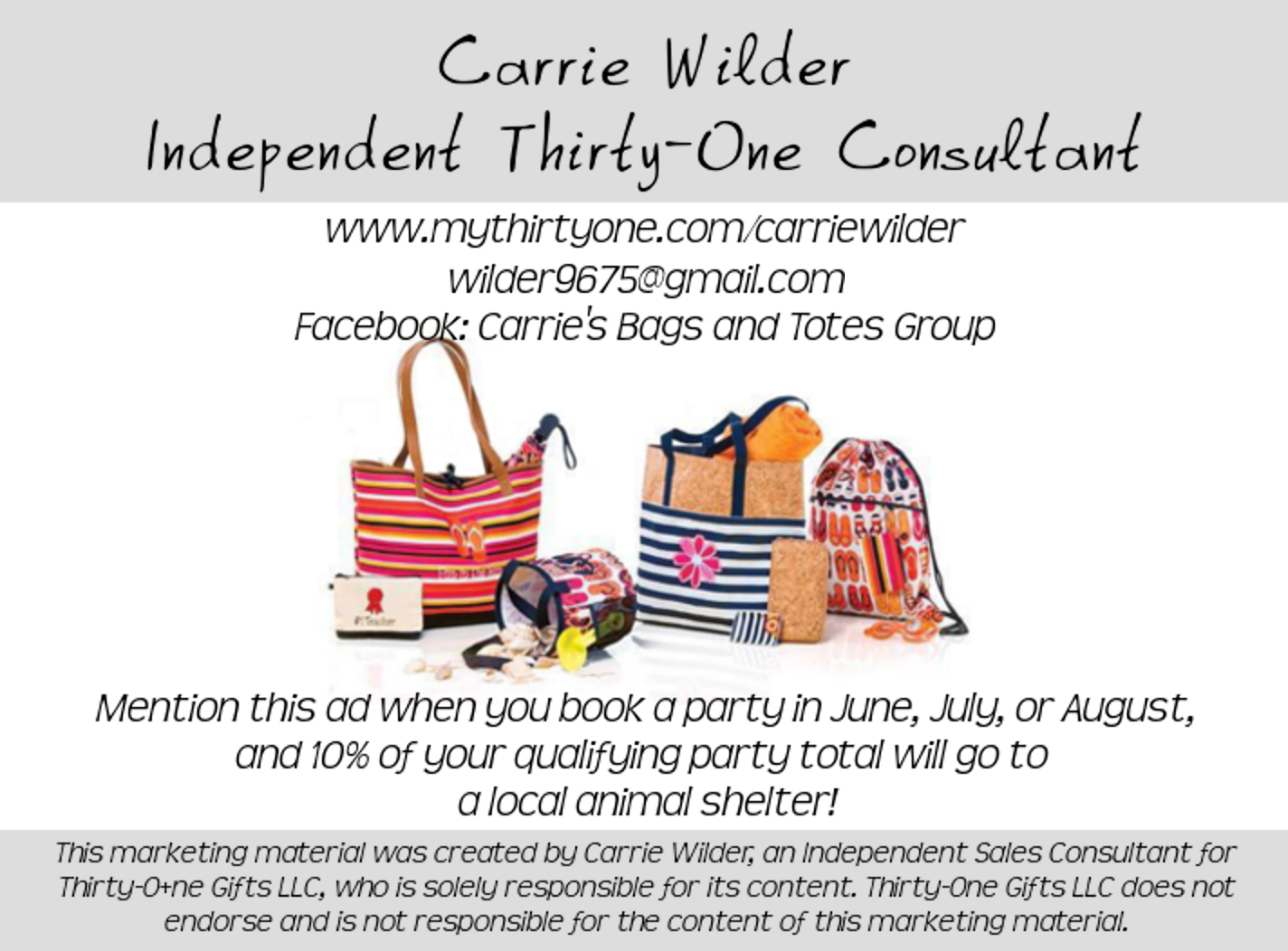Carrie Wilder, Independent Thirty-One Consultant