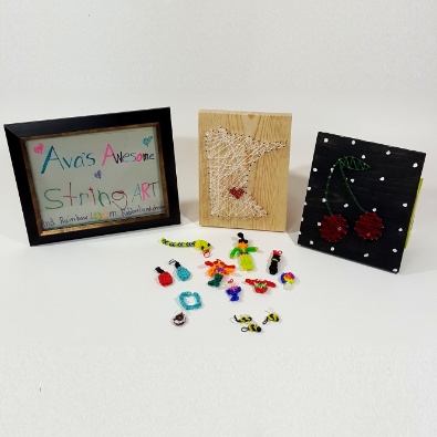 Ava's Awesome String Art and Rainbow Loom Rubberband Charms